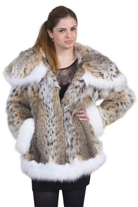 Bobcat Lynx Fur Coat Shoulder Collar with White Fox Fur Cuffs and Trim