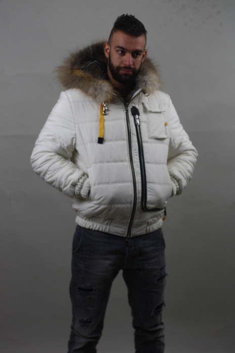 Grey fox double face White Mens Fur Coat