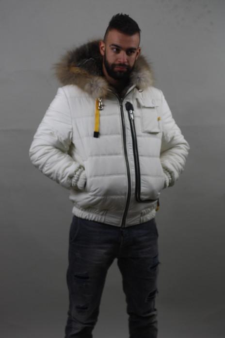 Grey fox double face White Mens Fur Coat