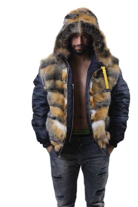blue mens fur lined parka with hood