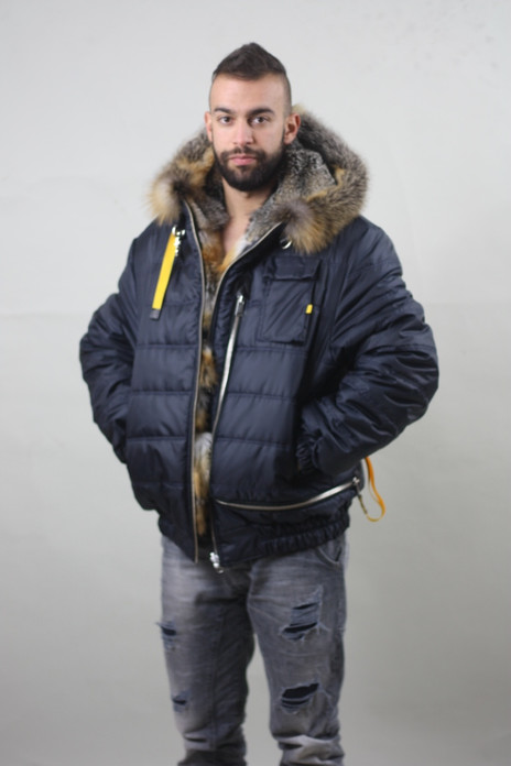 Grey fox double face/Blue/Mens Parka fur / Wedding,or anniversary present