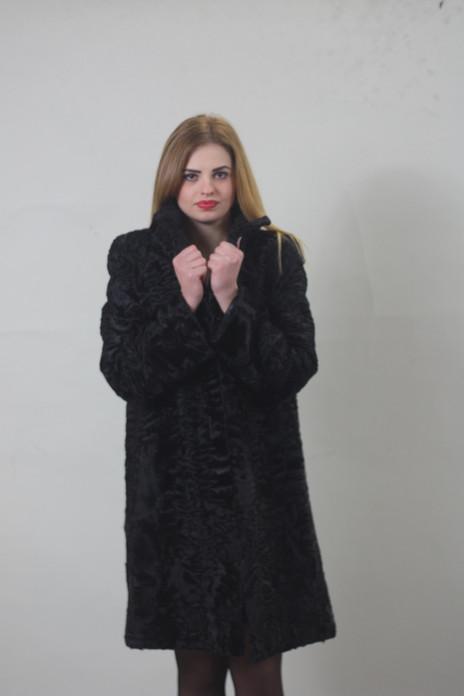 Black Swakara Lamb Fur Coat 3/4 length