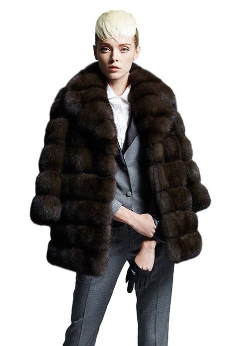 russian sable fur coat with shawl collar
