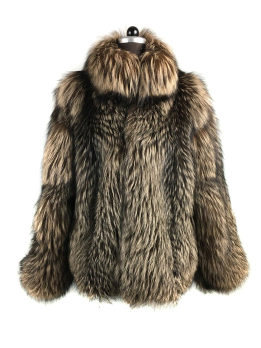 mens brown fox fur bobmber jacket  skin to skin  stand up collar