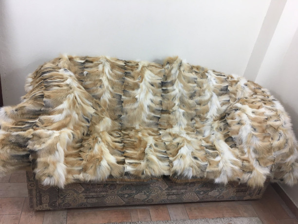 golden island fox fur blanket made of paws sectional  available in throw , queen , twin and king size