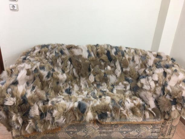 Colored fox fur blanket/throw