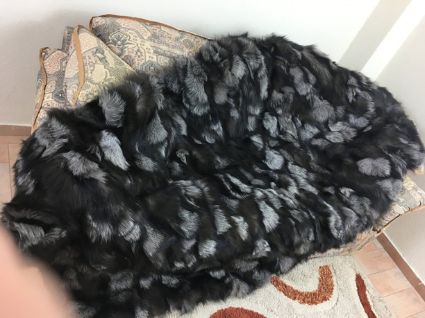Silver fox fur blanket/throw