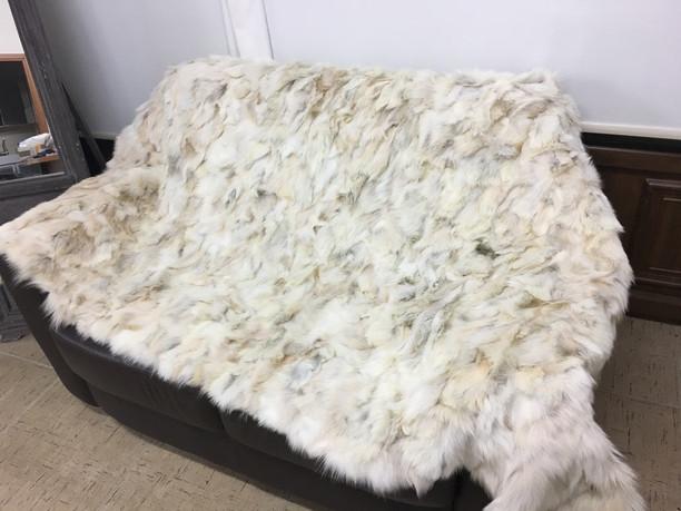 coyote  white fur blanket/throw
