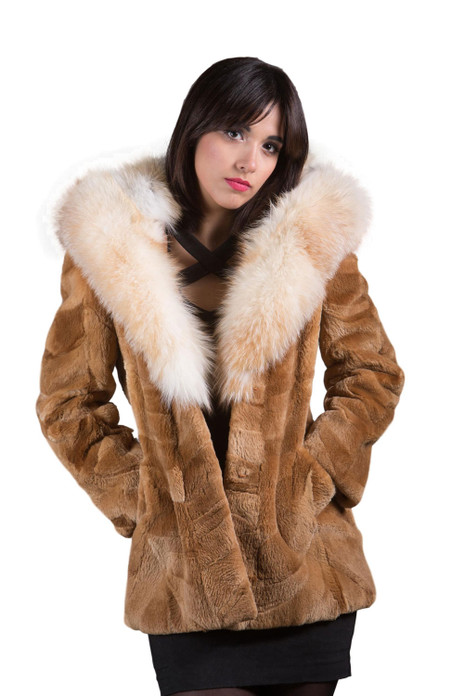 Beaver Fur Coat Cobra Hood