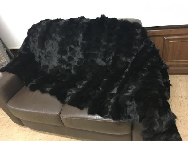 Black Fox Fur Blanket  Sectional
