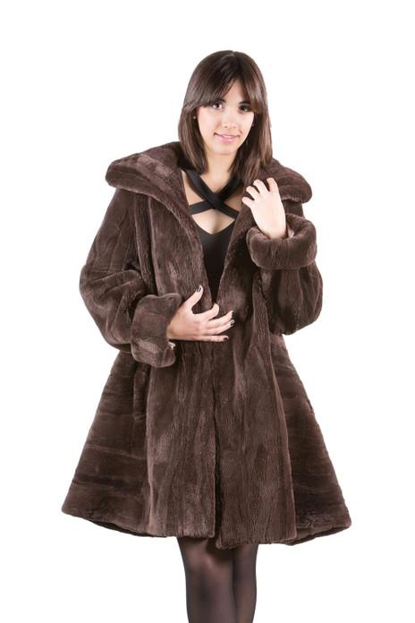 Sheared  Brown Beaver Coat Swing Style