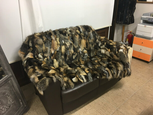 Multicolor Crystal Sectional Fox Fur Blanket