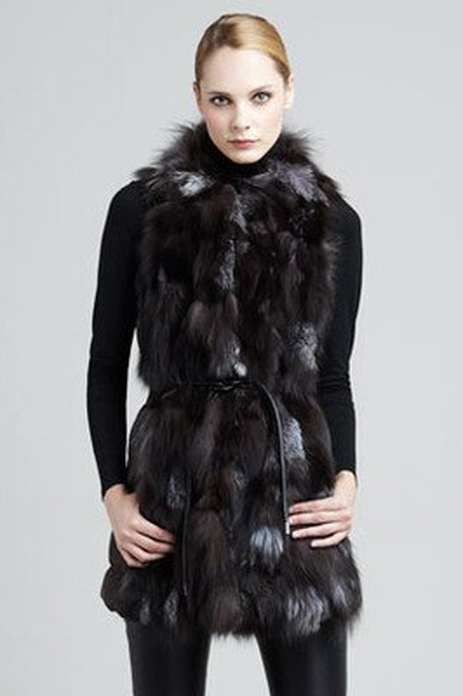 Silver Fox Fur Vest  Leather String Belt