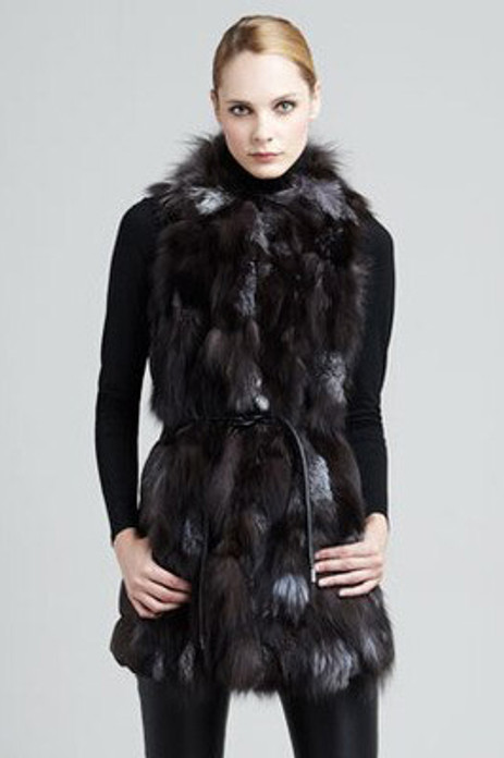 Silver Fox Fur Vest  Leather String Belt