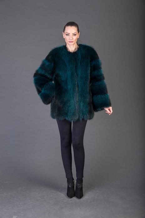 Green Racoon Fur coat collarless