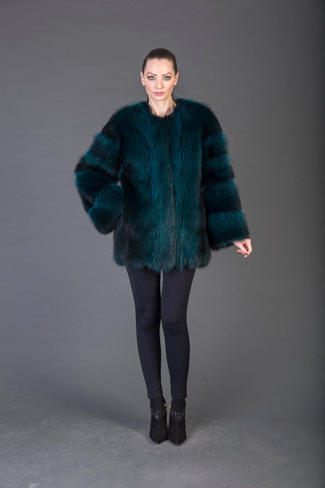 Green Racoon Fur coat collarless