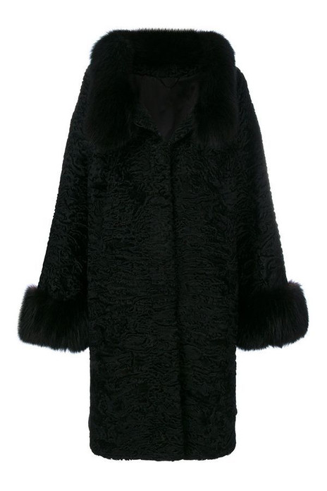 Black Lamb Fur Coat Erminia