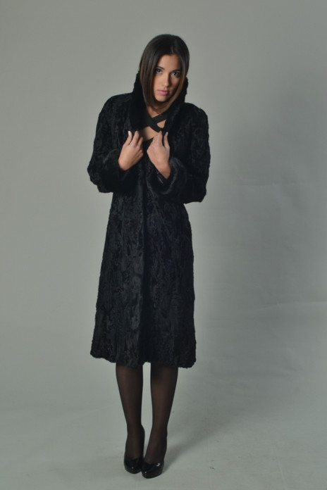 Black Persian Lamb Coat Mink Collar & Cuffs