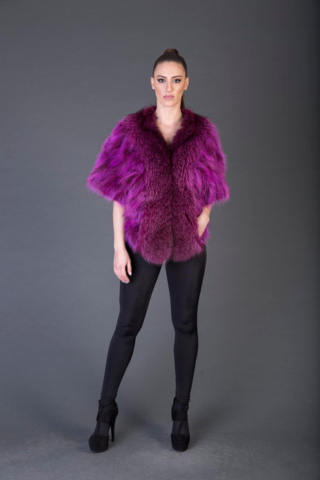 Purple Racoon  Fur  coat Short Sleeved
