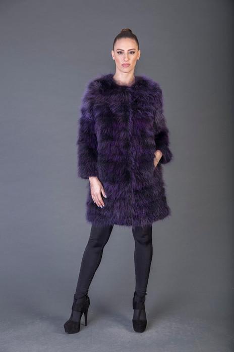 purple Feathered Racoon Fur Stroller Collarless