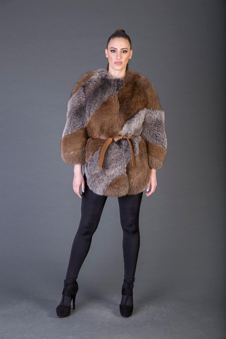 Gray and Brown  Racoon Fur coat