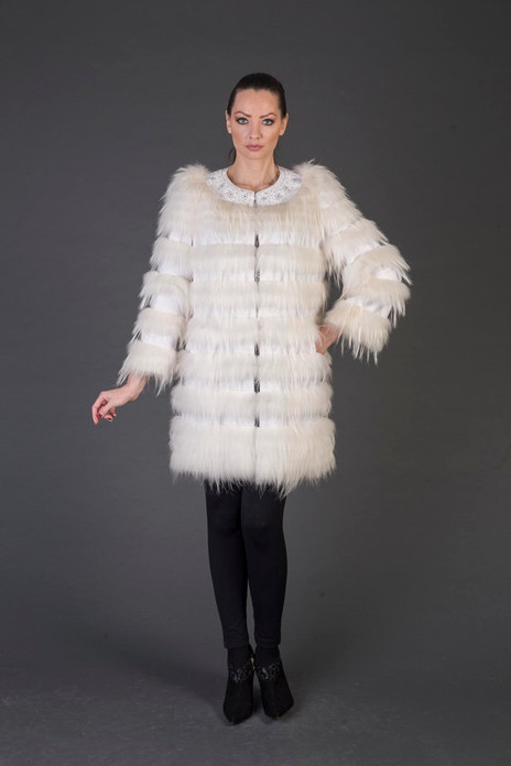 white Racoon Fur coat full skin