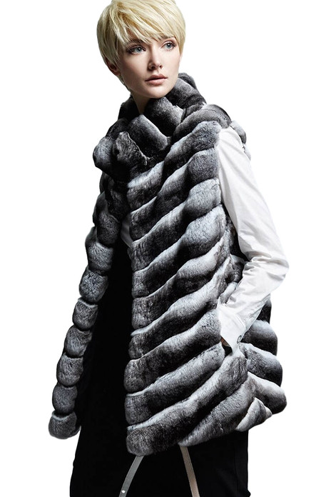 chinchilla fur vest with stand up collar on model with short haircut