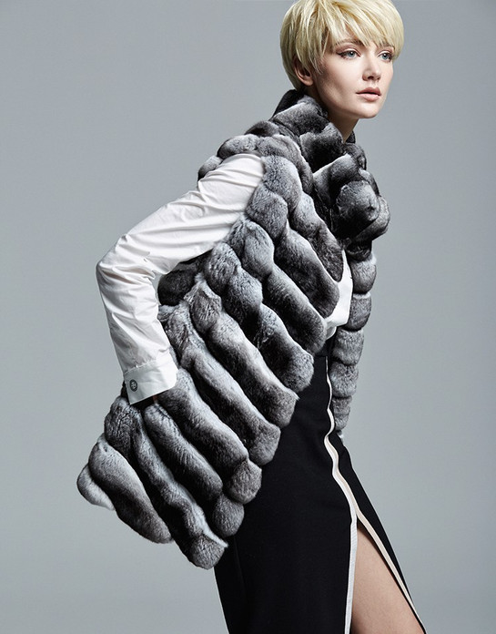 chinchilla vest hip length , diagonal pattern and stand up collar