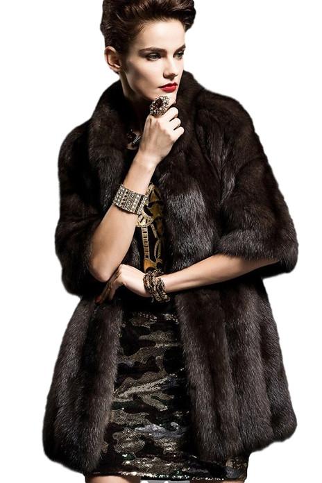 brown sable fur coat elbow length sleeves skin to skin