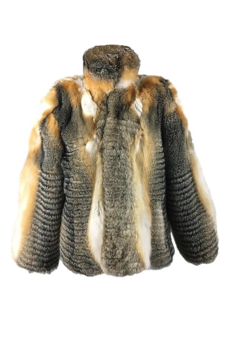 Mens Cross Fox Fur Bomber Jacket Stand Up Collar