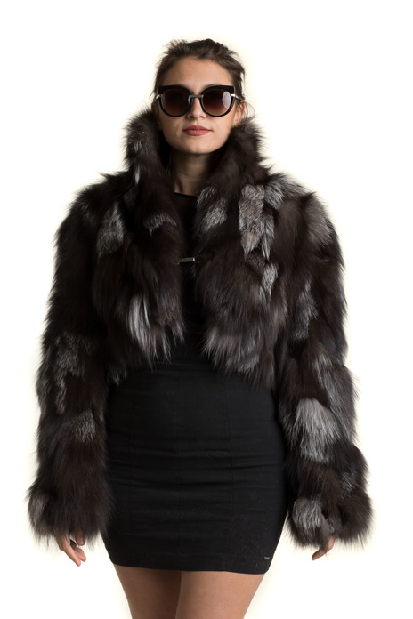 Silver Fox Fur Bolero sectional with widened sleeves