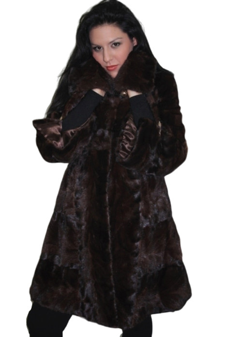 Brown Mink Fur Coat Knee Length widened bottom sweep and sleeves sectional