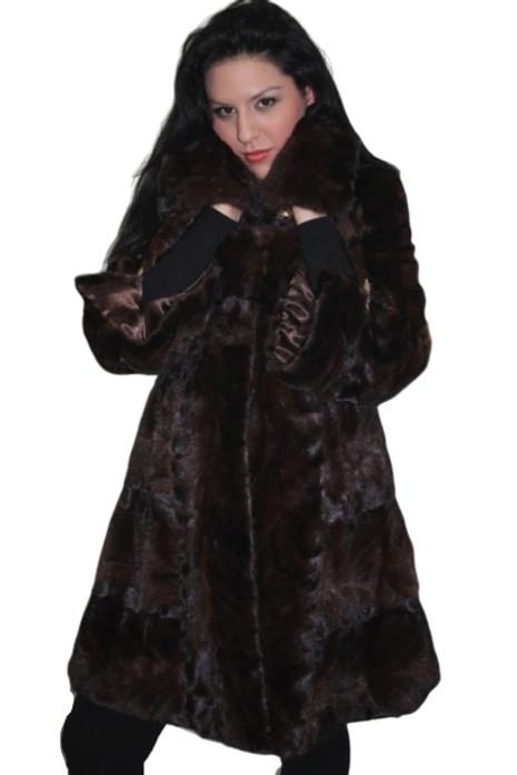 Brown Mink Fur Coat Knee Length widened bottom sweep and sleeves sectional