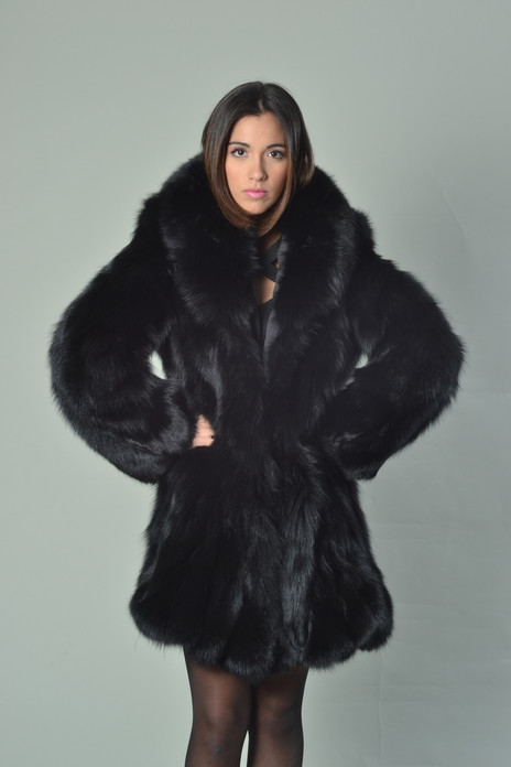 black fox fur coat with shawl collar knee length