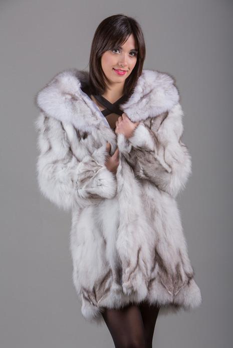 Blue  Fox Fur Coat with shawl fox fur collar Knee Length Front View