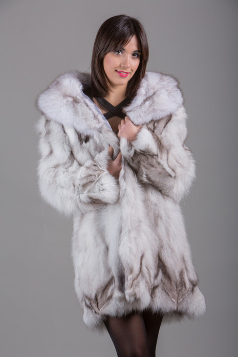 Blue  Fox Fur Coat with shawl fox fur collar Knee Length Front View