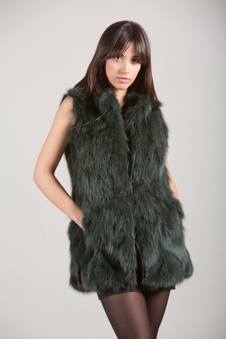 Green Fox Fur Vest hip length low cut collar and drawstrings