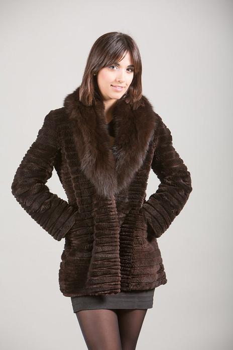 Sheared Beaver Fur Brown Jacket