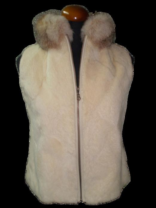 Beige Beaver Fur Vest Crystal Fox Collar