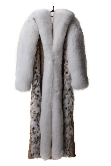 Full Length Lynx  Bobcat Fur Coat White Fox Sleeves Cobra Hood