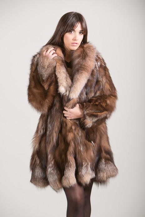 Crystal Fox Fur Coat knee length with fox fur shawl collar