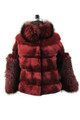 Red Mink fur coat With Fox sleeves and collar front view