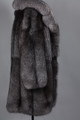mens silver gray fox fur coat with notch collar full length side view