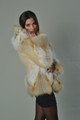 Golden Island  Fox Fur Coat Hooded