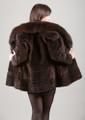 Brown Sculpted Beaver Fur Jacket Fox Fur Collar