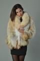 Golden Island Fox Fur Coat with shawl fox fur collar waist length