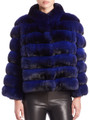 electric blue chinchilla coat with low cut collar and 4/5 sleeves , boxy cat