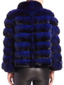 chinchilla  coat of electric blue color , rear view matched with black fitted leather pants
