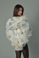 Golden island  Fox Fur Cape Hooded hip length rear view