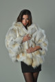 Golden island Fox Fur Cape with hood